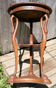 Antique Carved Walnut 2 Tier Claw Foot Swan Plant Stand Pedestal Table