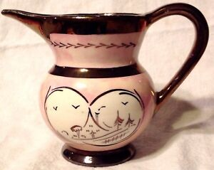 Pitcher Copper Lustre Ironstone Pottery Pink Handpainted Vintage