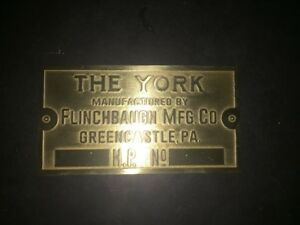 The York Flinchbaugh Brass Data Plate Tag Antique Gas Engine Hit Miss Last One