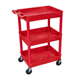Utility Cart 3 Shelves Tier Tall Push Handle Red Wheels Casters Brakes Tub Style
