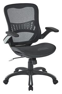 Office Star Managers Chair 2 to 1 Synchro Lumbar Support Mesh Back Seat Black