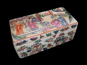 Antique Canton Famille Rose Porcelain Box Signed China Late 19th Century