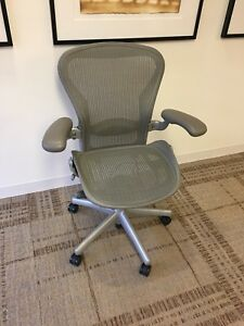Aeron Chair By Herman Miller Fullly Loaded titanium Frame size B Set Of 10