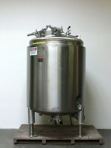 Lee 2000 Liter Stainless Steel Jacketed Reactor W Bottom Mixer Rated 75 Psi