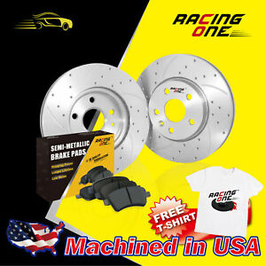 Racing One Front Silver Drilled Slotted Brake Rotor Metallic Pad Fit Acura Cl