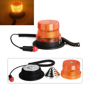 Led Strobe Amber Emergency Magnetic Flash Warning Beacon Light For 12v Vehicles