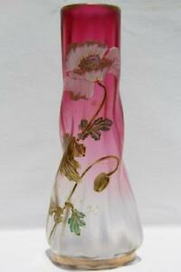 Art Nouveau Legras France Gild Enameled Frost Cranberry Glass Vase Poppy Flower