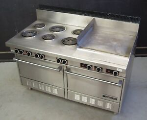 Garland S684 24r Commercial Electric Range 60 w 6 Burners 2 Ovens 24 Griddle