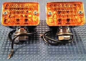 Hot Rod Custom Truck Vintage Small Chrome Amber Turn Signal Parking Light Set