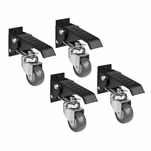 Work Bench Caster 4 Pack Kit Table Wheel Lift Pedal Rolling Moving 400lb Support