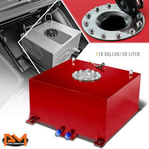 10 Gallon Lightweight Aluminum Red Fuel Cell gas Tank level Sender Polished Cap
