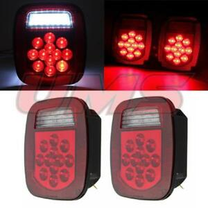 2x 39 Led Stud Mount Trailer Stop Turn Tail Lights For Jeep Wrangler Cj Yj Jk Tj