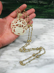 Antique Chinese Carved White Hetian Jade Pendant Gold Wash Silver Necklace