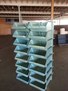 8 Piece Set Of Durable Fiberglass Lewisbins Stacking Nesting Storage Bins