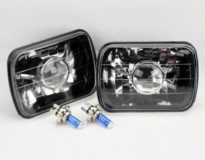 7x6 Halogen H4 Black Chrome Projector Glass Headlight Conversion W Bulbs Gmc
