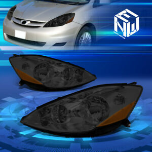 For 06 10 Toyota Sienna Smoked Housing Amber Side Front Bumper Headlight lamps