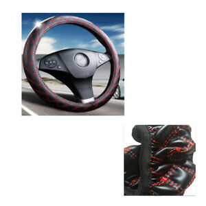 2pcs Car Steering Wheel Cover Black Red Stitching Pu Leather Universal 38cm