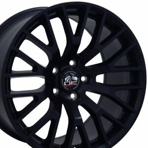 18x9 Rim Fits Ford Mustang 2015 Gt Style Satin Black Wheel 10036 Cp Set