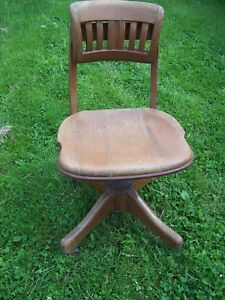 Antique Solid Wood Swivel Bankers Office Desk Chair