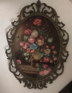 Vintage Flower Picture Ornate Brass Frame Oval Bubble Glass