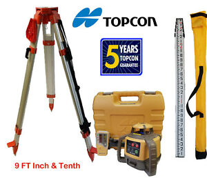 Topcon Rl h5a Db Rotary Laser Level Plus 9 Ft Combo Inch Tenths Rod Tripod