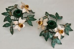 Pair Italian Tole Metal Daffodil Flowers Candle Holders Garden Greenery Chippy