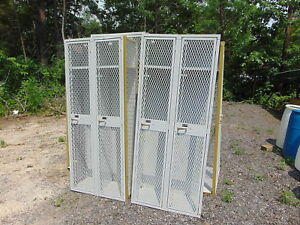 Vtg Industial Gym Mesh Locker Cabinet Steampumk Set Of Two Size 6ft X30 X 15