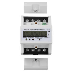 Digital Lcd 50hz 3 X 5 80 a Kwh Power Energy Meter 3 phase 4 wire Din Rail Te555