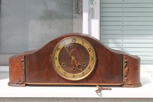Antique Old German Big Massive Charming Wooden Dekstop Clock Goldanker