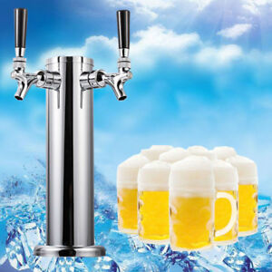 2 Faucet Draft 3 Dia Draft Beer Tower Bar Pub Kegerator Stainless Steel