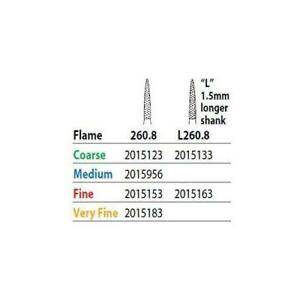 Premier Dental 2015123 Two Striper Fg 260 8c Coarse Flame Diamond Burs 5 pk