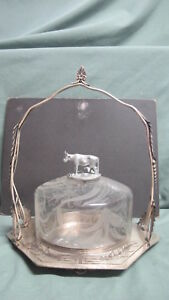 Antique Meriden Silver Plate Engraved Glass Cheese Dish With Cow Top