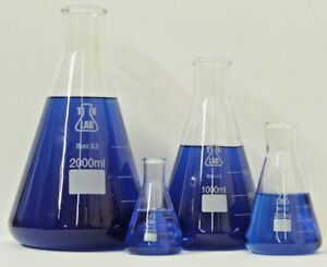 Tn Lab Supply Glass Borosilicate Conical Flask Set 100 250 1000 2000 Ml
