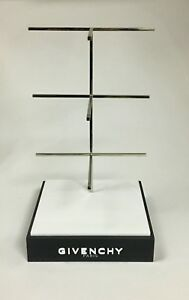 Givenchy Glasses Display Stand Holder Logo Black Silver Plexiglass Metal Auth