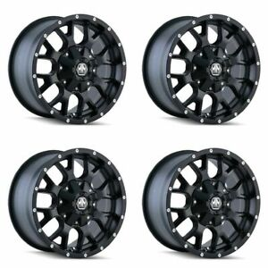 Set 4 17 Mayhem Warrior 8015 Black Wheels 17x9 6x135 6x5 5 12mm Lifted 6 Lug