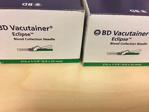 2 Bd Vacutainer Eclipse Blood Collection Needle 21g Brand New 48 box