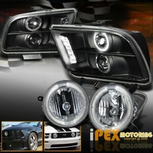 New 2005 2009 Ford Mustang Gt Halo Projector Led Headlight Fog Light For Grill