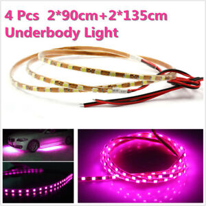 4pcs Pink Purple Led Strip Under Car Underglow Underbody System Neon Light Kit