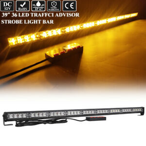 39 36w Led Traffic Adviser Warn Directional Arrow Strobe Light Bar Amber Yellow