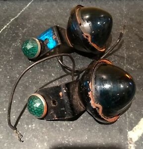 Dietz Tail Or Turn Signal Lights Marked Number 34 Green Lens Vintage