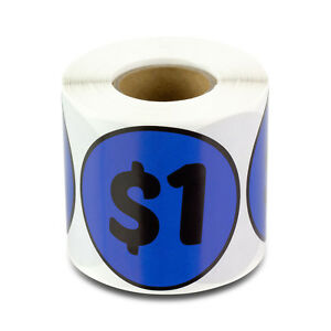 1 Dollars Stickers Garage Sale Yard Retail Flea Market Money Labels 10 Rolls