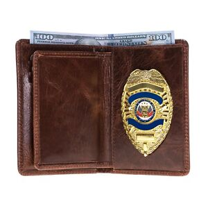 Police Leather Badge Wallet Universal Fit pin Back Badge Dark Brown