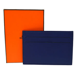Authentic Hermes Card Case Navy Swift Leather France With Box A36362c