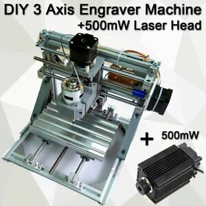 3 Axis Diy Cnc Router Machine 500mw Laser Engraving Pcb Milling Wood Carving Usa