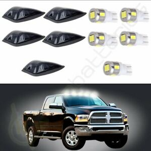 5x Cab Marker Roof Light Smoke Xenon White Led Base For Gmc Chevy K1500 K3500
