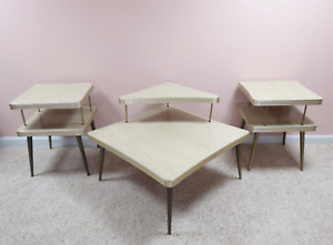 Vintage 3 Pc Mid Century Formica Coffee Two End Tables Set Two Tier Boomerang