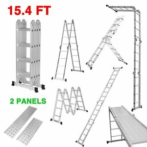 Finether 15 4ft Heavy Duty Multi Purpose Aluminum Folding Extension Ladder With