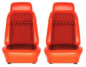 1969 Camaro Deluxe Houndstooth Interior Bucket Seat Covers Orange