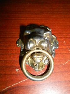 Vintage Lion Head Cabinet Knob Drawer Pull With Ring Steampunk
