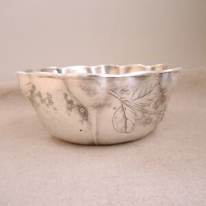 1884 Whiting Etched Sterling Silver Bowl Japanese Floral Blossom Leaf As Is 333g